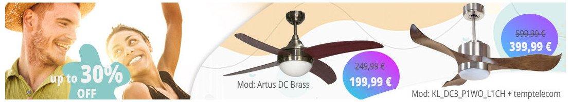 Ventilatori da soffitto con luce-per superfici dagli 11 ai 15 m² .