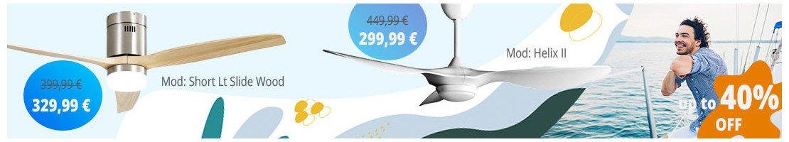 Ventilatori da soffitto con luce-per superfici da 26 a 40 m² .