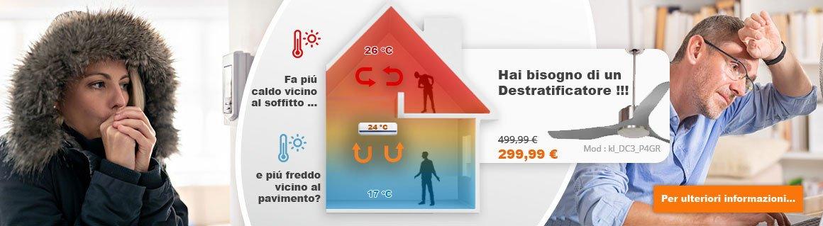 I ventilatori da soffitto destratificatori vi aiuteranno a ridurre i costi energetici e miglioreranno il comfort della vostra casa/ ufficio/ fabbrica/ etc.